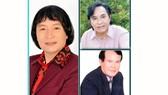 NSƯT Minh Vương (ảnh lớn), NSƯT Thanh Tuấn (sơ mi hồng), NSƯT Giang Châu (áo vest)