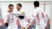 Các cầu thủ Palestin vui mừng sau chiến thắng trước Thái Lan. Ảnh: AFC
