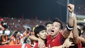 Niềm vui chiến thắng của đội Việt Nam. Ảnh: MINH HOÀNG