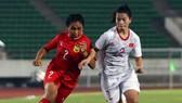 Đội U16 nữ Việt Nam có chiến thắng đầu tiên trước đội Lào. Ảnh: Đoàn Nhật