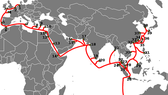 The route of the Southeast Asia-Middle East-Western Europe (SMW3) cable (Photo: FPT Telecom)