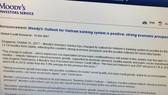 """Moody's vừa nâng mức đánh giá triển vọng của hệ thống ngân hàng Việt Nam từ """"ổn định"""" lên """"tích cực"""""""