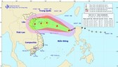 Position of typhoon Khanun in sea