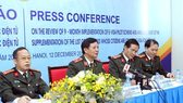 Major General Le Xuan Vien, head of the Immigration Management Department, speaks at the press conference to review the nine-month pilot e-visa scheme. (Photo: VNA)