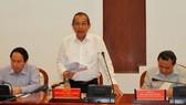Phó Thủ tướng Thường trực Chính phủ Trương Hòa Bình phát biểu chỉ đạo tại buổi làm việc. Ảnh: VGP