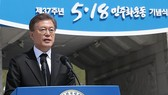 This photo, taken on March 18, 2017, shows President Moon Jae-in speaking during a ceremony commemorating the 1980 pro-democracy uprising in Gwangju, 350 kilometers south of Seoul. Yonhap