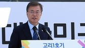President Moon Jae-in delivers a speech in a ceremony marking the permanent shutdown of South Korea's first nuclear reactor Kori-1 in Busan, 450 kilometers south of Seoul, on June 19, 2017. (Yonhap)