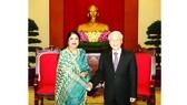 Tổng Bí thư Nguyễn Phú Trọng tiếp Chủ tịch Quốc hội Bangladesh Shirin Shamin Chaudhury thăm chính thức Việt Nam