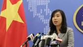 Người phát ngôn Bộ Ngoại giao Lê Thị Thu Hằng trả lời câu hỏi phóng viên tại buổi họp báo. Ảnh: TTXVN