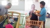 阮文林同孩子談話(左圖)。阮文福指引媬姆如何正確地抱新生兒。
