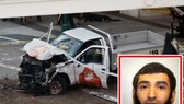 皮卡汽車撞人事件的現場和襲擊者(小圖)。(圖源:互聯網)