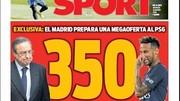 Chủ tịch Florentino Perez và Neymar trên trang bìa tờ Sport.