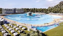 Xây bể bơi tạo sóng nhân tạo cao 2,4m