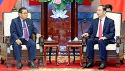 Chủ tịch nước Trần Đại Quang tiếp Phó Chủ tịch Quốc hội Lào Sengnouane Sayalat đang có chuyến thăm chính thức Việt Nam. Ảnh: Nhan Sáng/TTXVN