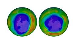 Dữ liệu vệ tinh cho thấy lỗ hổng ozone tại cực Nam vào tháng 9-2000 (trái) và tháng 9-2018.