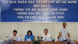 Lãnh đạo TPHCM tham dự và chủ trì buổi họp báo. ẢNh: DŨNG PHƯƠNG