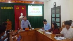 Ông Hồ Trung Phước, Trưởng ban Tuyên giáo Tỉnh ủy Bình Thuận thông tin tại buổi họp báo.