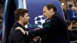 HLV Mauricio Pochettino (trái) và Massimiliano Allegri khi đối đầu nhau ở Champions League mùa trước. Mauricio Pochettino