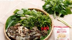 Thành phẩm Pa pỉnh tộp cùng các loại rau thơm ăn kèm bày trên tàu lá chuối giữ lại nét dân dã cho món ăn.