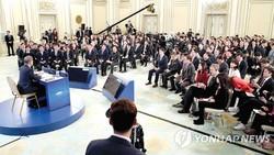 Tổng thống Hàn Quốc Moon Jae-in tại buổi họp báo đầu năm 2019
