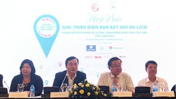 Ban tổ chức thông tin giới thiêu diễn đàn tại họp báo chiều 14-8.