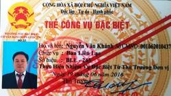 """Thẻ """"Công vụ đặc biệt"""" mang tên Nguyễn Văn Khánh."""