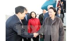 Lễ đón Chủ tịch Quốc hội Nguyễn Thị Kim Ngân tại sân bay quốc tế ở thủ đô Astana. Ảnh: TTXVN