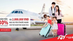 Hoàn tiền 30% khi chi tiêu nước ngoài với thẻ Maritime Bank Visa