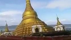 Xem clip ngôi Chùa vàng ở Myanmar chìm dần trong nước lũ