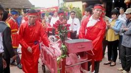 """北寧省上擲村在""""斬豬""""之前的""""豬公""""迎接儀式。"""
