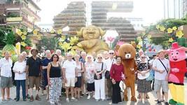 Du khách thích thú với đường hoa nghệ thuật tại TP Cần Thơ dịp Tết Kỷ Hợi