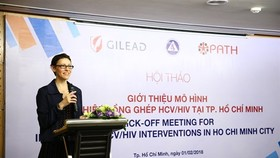 Kimberly Green, PATH's programme director for HIV, tuberculosis, and non-communicable diseases in Vietnam, speaks about a new initiative to increase access to HCV screening, diagnosis and treatment service for high-risk populations in HCM City (Photo cour