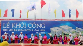 The ceremony to start the construction of the Xuyen A-Tay Ninh hospital on October 10 (Photo: VNA)
