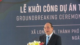 Vietnamese Prime Minister Nguyen Xuan Phuc speaks at the  groundbreaking ceremony of the Long Son petrochemical project