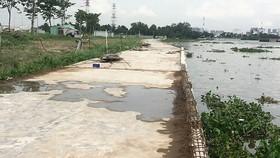 The embankment embankment  built by Dai Phuc Company