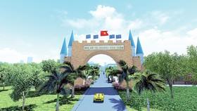 Cổng vào dự án Khu đô thị biển Seaway Bình Châu