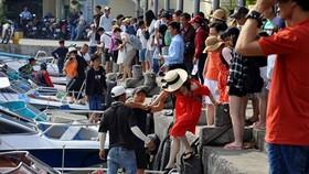 遊客在慶和省芽莊石橋碼頭。
