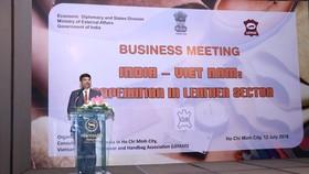 印度駐本市總領事 K. Srikar Reddy在企業交流會議上發言。(圖源:印度駐本市總領事館)