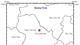 昨(17)日上午7時許,廣南省南茶眉縣區域發生一場里氏3.9級的地震。圖中星號表示震中位置。(圖源:地球物理院)