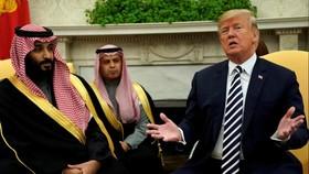 美國總統特朗普與沙特王儲本‧薩勒曼。(圖源:路透社)