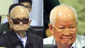 前紅色高棉高層領導人農謝(左)、喬森潘(右)。  (圖源:AP)