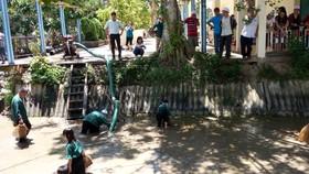遊客在生態旅遊區抓魚。