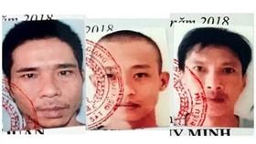 被通緝的3 名越獄囚犯阮維明(左)、阮文欣(中)及陳國軍。(圖源:公安機關提供)