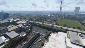 Phối cảnh nút giao thông phía Tây cầu Trần Thị Lý