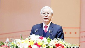 Communist Party of Vietnam General Secretary Nguyen Phu Trong speaks at the 11th National Congress of the Ho Chi Minh Communist Youth (HCYU) opened in Hanoi yesterday