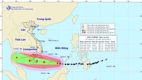 Direction of Typhoon Tembin on December 24 (Photo: national weather bureau)