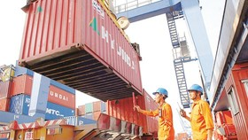 Containers are loaded on board at Cat Lai seaports on February 21 (Photo: SGGP)