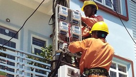 Workers maintaining electricity network in HCMC