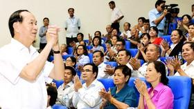 Chủ tịch nước Trần Đại Quang trong một lần tiếp xúc cử tri TPHCM.  Ảnh: Việt Dũng
