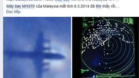 Tin thất thiệt về việc tìm thấy máy bay MH370 còn nguyên vẹn, rất vô lý nhưng vẫn được nhiều người cả tin chia sẻ về trang Facebook cá nhân